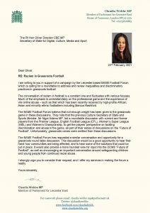 Letter to DCMS from MP Webbe